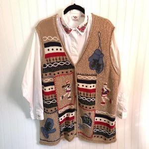 Vintage Sweater Vest Blouse Mittens Ice Skating